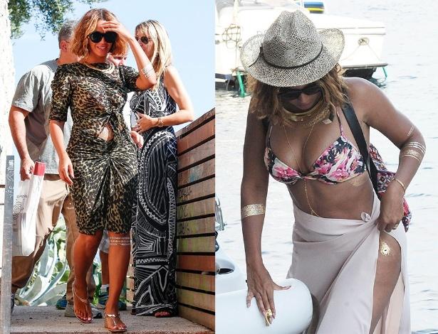10.set.2014 - Em passeio pela pela França, Beyoncé exibe tatuagem de ouro no joelho. Já à direita, dias antes, a cantora investe na mesma tendência para ir à praia