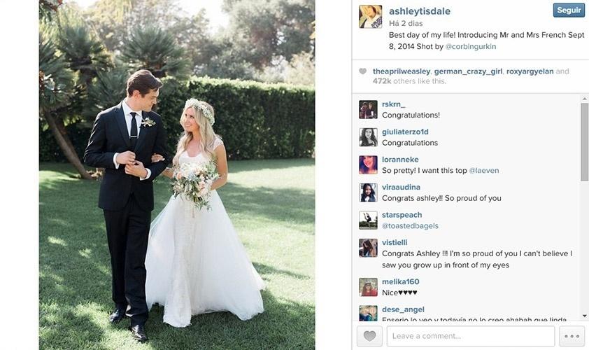 8.set.2014 - A atriz Ashley Tisdale se casa com o músico Christopher French