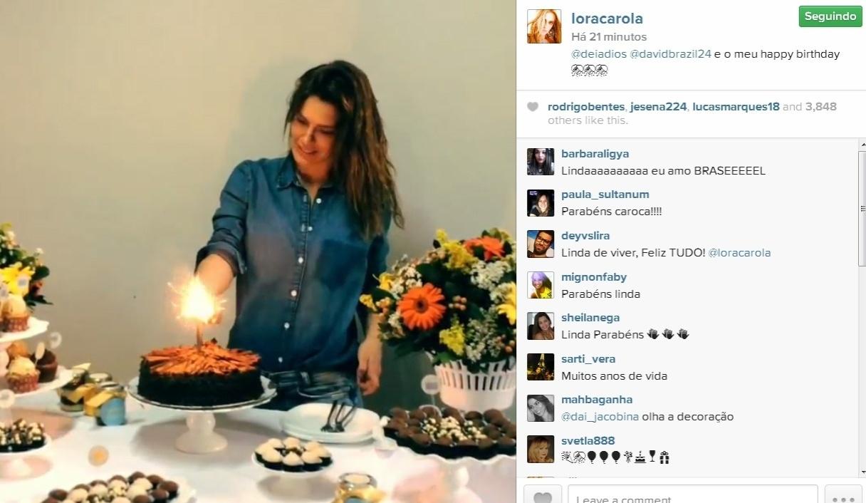 15.set.2014- Carolina Dieckmann ganha festa surpresa antecipada com bolo de chocolate e doces em salão de beleza no Rio. A comemoração foi organizada pelo promoter David Brazil. Nesta terça-feira (16), a atriz completa 36 anos