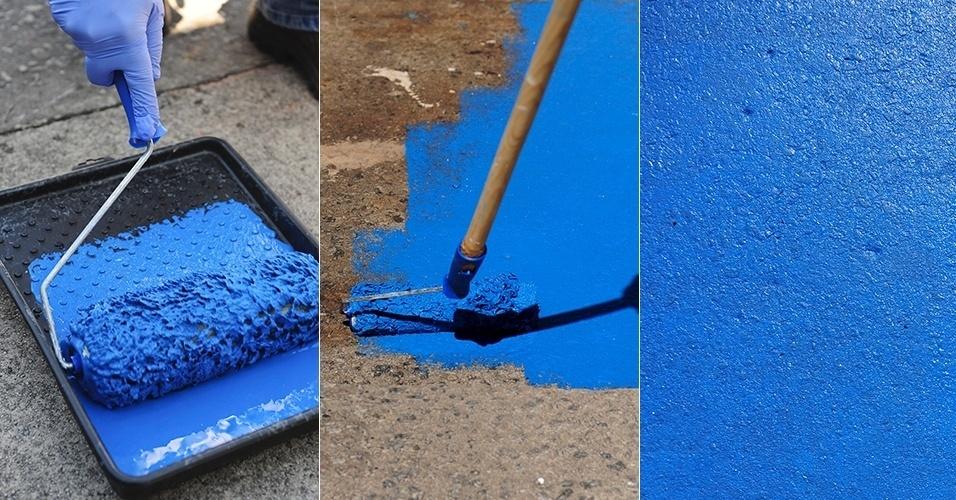 Renove o piso sem gastar muito aprenda a pintar cer mica - Pintura para pintar piso de cemento ...