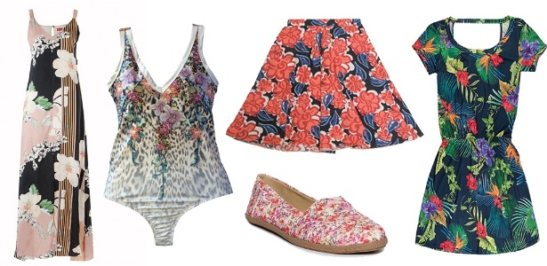 As roupas e acessórios podem ser estampados com diferentes tipos de florais