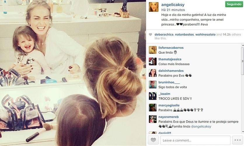 25.set.2014 - Angélica comemora o aniversário de dois anos da filha Eva e se derrete por ela.