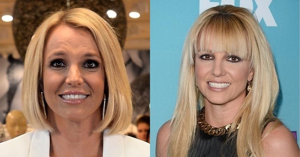 25.set.2014 - Britney Spears apareceu com cabelos curtos em look mais sério e sofisticado durante evento de lançamento de sua linha de lingerie em Oberhausen, na Alemanha. Á direita, a cantora no mês de agosto com franjinha e fios mais longos