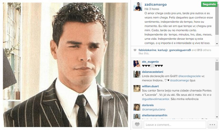 1.out.2014 - Zezé di Camargo faz uma declaração de amor à namorada, Graciele Lacerda, em sua conta do Instagram, na madrugada desta quarta-feira