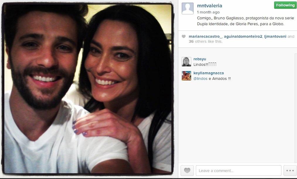 Set.2014 - Valéria Monteiro posta imagem com Bruno Gagliasso nos bastidores da série