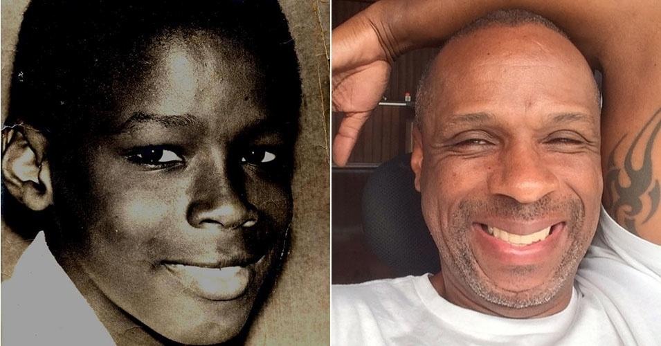Ao que parece, Robson Caetano não gostava muito de sorrir para as fotos quando criança. Mas a imagem à direita prova que isso mudou