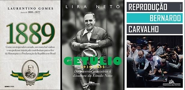 """Capas dos livros """"1889"""", de Laurentino Gomes, """"Getúlio (1930-1945)"""", de Lira Neto, e """"Reprodução"""", de Bernardo Carvalho, vencedores do prêmio Jabuti"""