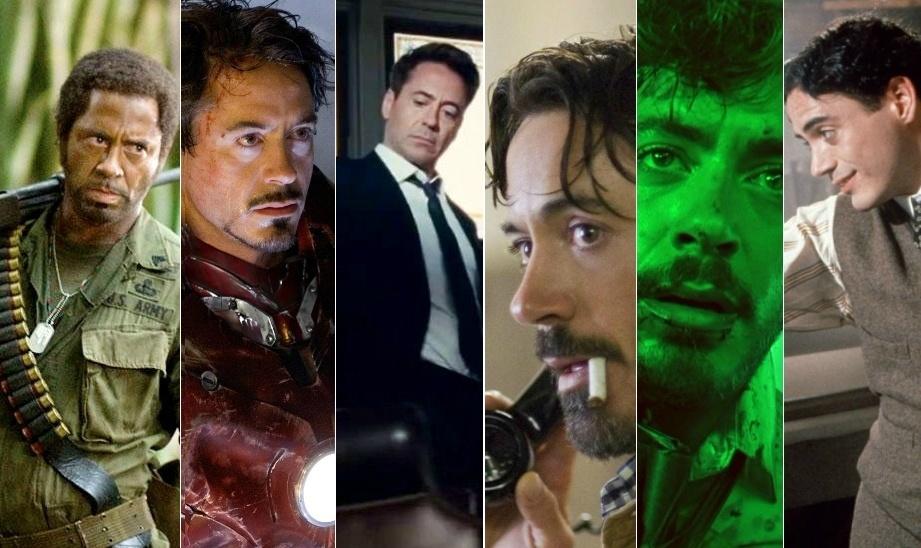 Montagem com imagens de Robert Downey Jr.