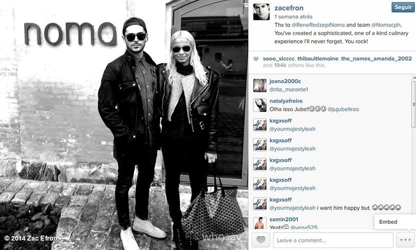 14.out.2014 - Zac Efron aparece ao lado de seu novo affair, Sami Miró, em foto publicada em seu Instagram