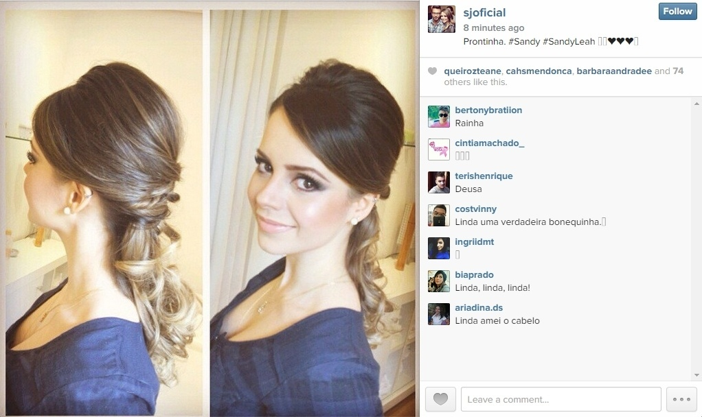 25.out.2014 - Sandy mostra o penteado que fez para o casamento de seu irmão, Júnior, com a modelo Mônica Benini no interior de São Paulo