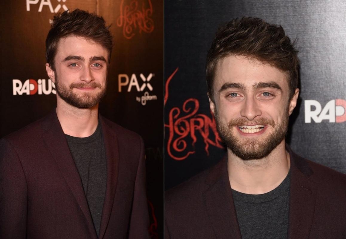 30.out.2014 - O ator britânico Daniel Radcliffe surge barbudo na première do novo filme de terror