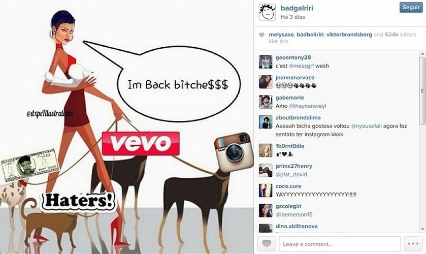 2.nov.2014 - Rihanna volta ao Instagram e publica montagem divertida em que se lia