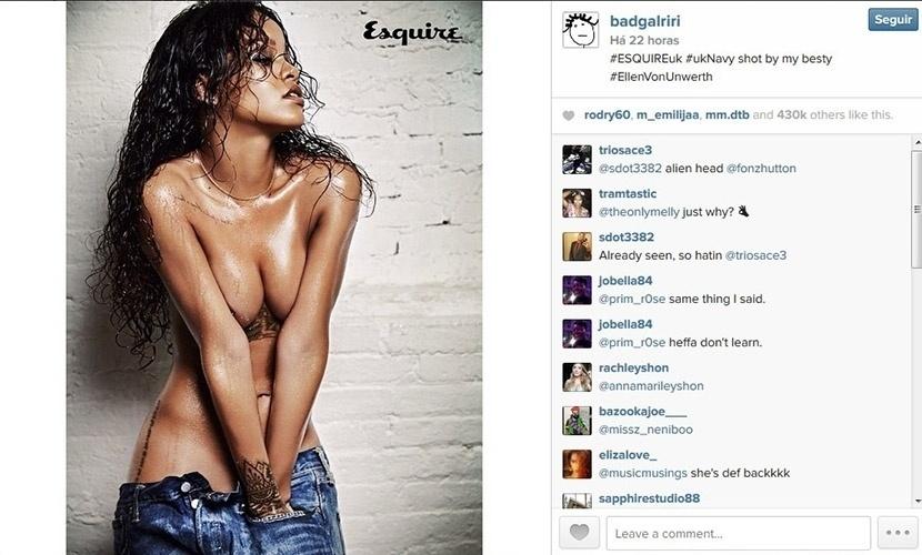 4.nov.2014 - Rihanna mostra foto sensual de ensaio para a