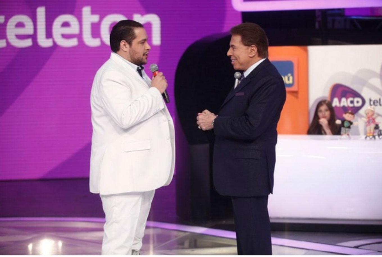 9.nov.2014 - Silvio Santos e Tiago Abravanel