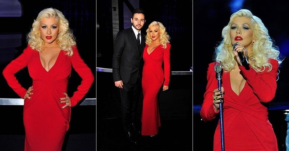 9.nov.2014 - Christina Aguilera exibe decote generoso na primeira aparição depois de dar à luz a filha Summer Rain, em agosto. A cantora se apresentou na premiação científica Breakthrough Prize Awards, à qual foi acompanhada do noivo, Matt Rutler. O evento aconteceu no centro de pesquisas da NASA, na Califórnia