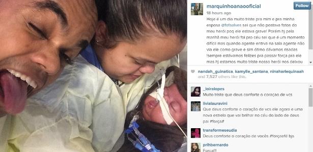 13.nov.2014 - No Instagram, Marquinhos falou aos amigos sobre a morte de seu filho de quatro meses