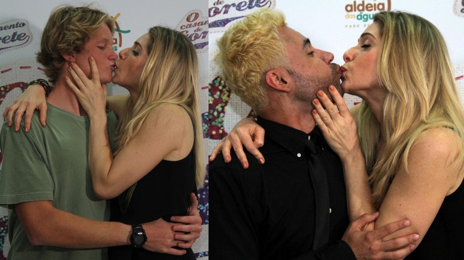 17.nov.2014 - Letícia Spiller beija o filho Pedro Novaes e o ator Rodrigo Sant'Anna na boca na pré-estreia do filme