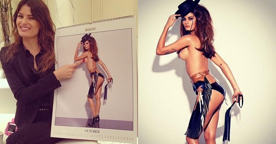 18.nov.2014 - Isabeli Fontana aparece de topless em foto para o calendário Pirelli 2014. A imagem foi publicada pelo fotógrafo Fernando Torquatto