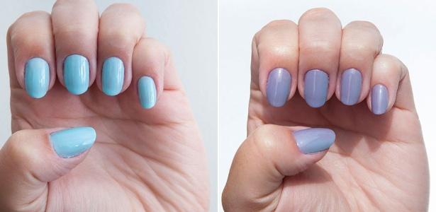 Em contato com a luz UV, o esmalte azul da marca Ruby Wing ganha uma tonalidade lilás