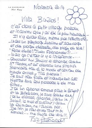 Carta enviada por Brigitte Bardot à Mostra Búzios-France