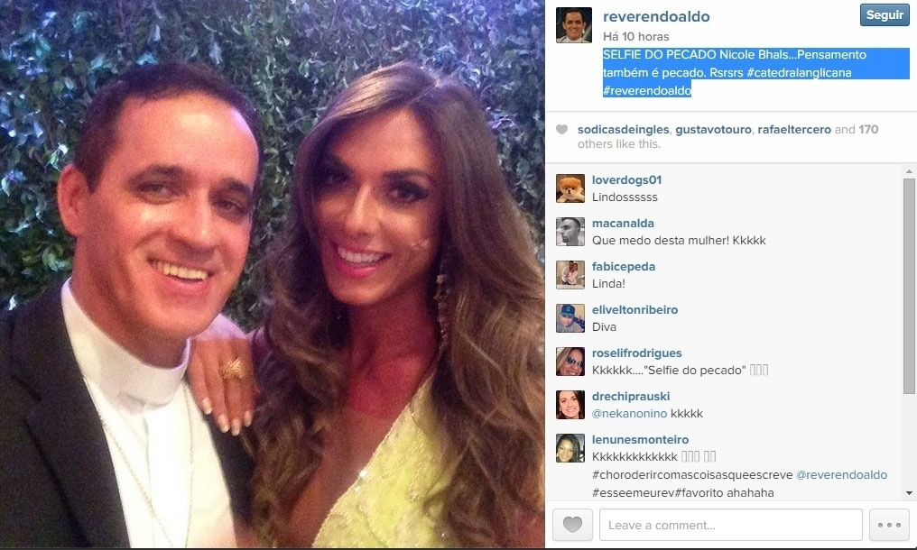 Reverendo publica foto com Nicole Bahls e diz: