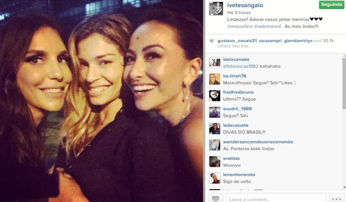 27.nov.2014 - Ivete Sangalo se diverte com Grazi Massafera e Sabrina Sato em um restaurante próximo à Avenida Paulista, em São Paulo, na madrugada desta quinta-feira