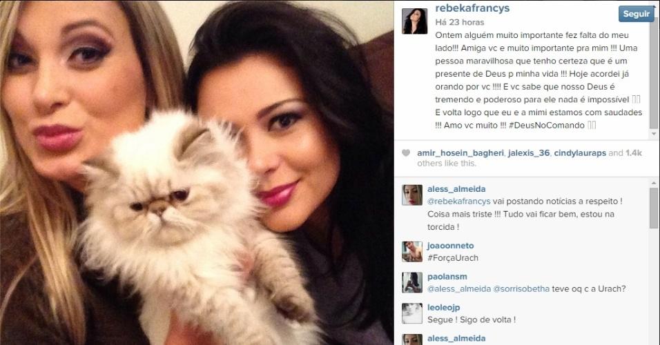 Miss Bumbum Rebeka deseja melhoras para amiga Andressa Urach