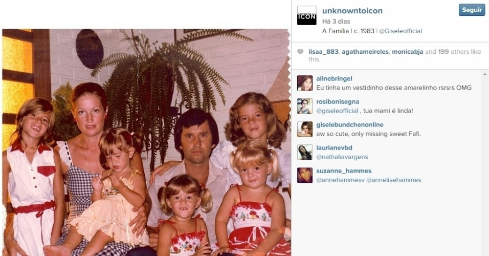 1.dez.2014 - Gisele Bundchen publica foto ao lado da família