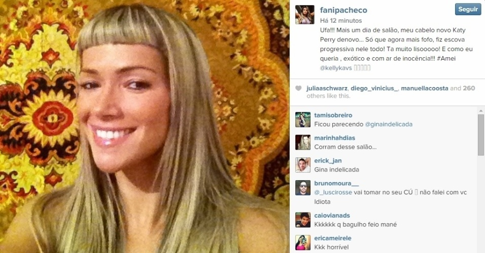 05.dez.2014 - Fani Pacheco não cansa. A ex-BBB mudou o visual pela terceira vez só nesta semana e publicou a nova versão no Instagram, após aparecer com uma franja curta e os cabelos ondulados com um franjão de lado.