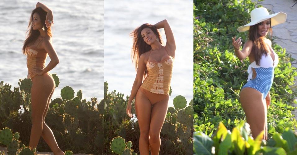 8.dez.2014- Ex-assistente de palco de Faustão, Carol Nakamura exibe corpo em forma durante ensaio  na praia do Arpoador, zona sul do Rio