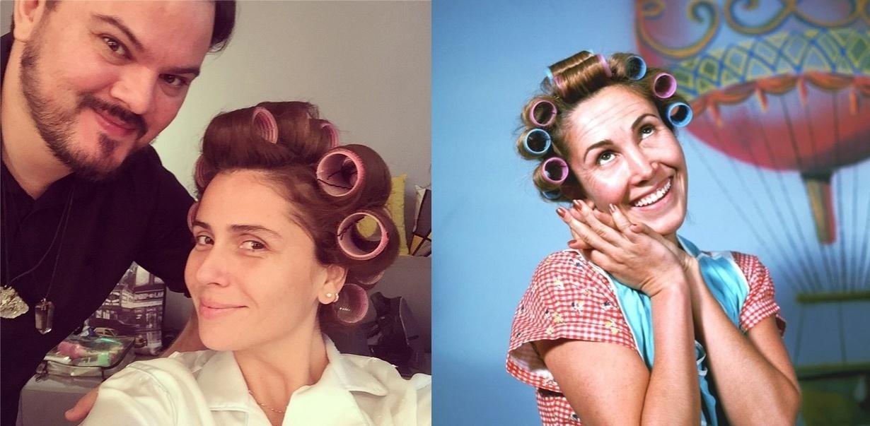 Giovanna Antonelli postou uma foto em seu Instagram nesta quarta-feira (10) cheia de bobs no cabelo