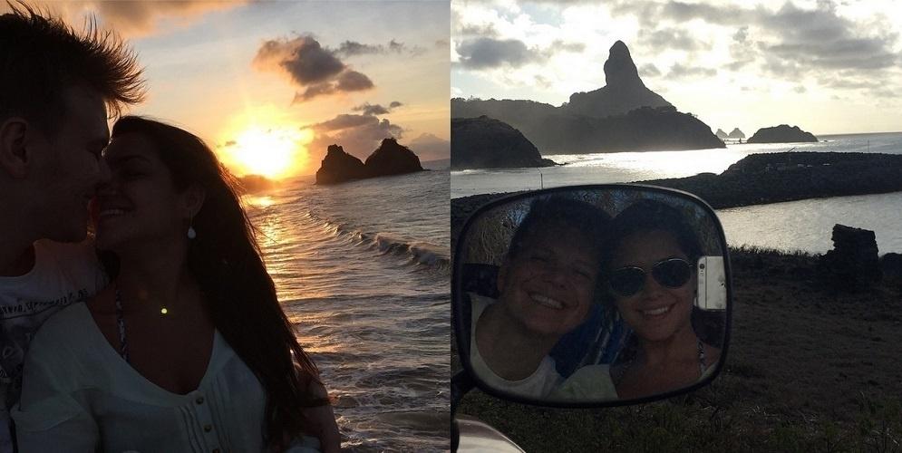 16.dez.2014 - Michel Teló e Thais Fersoza comemoraram os dois primeiros meses de casados com uma viagem para Fernando de Noronha