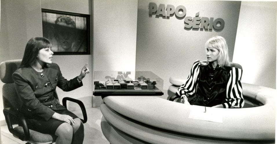 """No """"Xou da Xuxa"""", a apresentadora entrevista a ex-primeira dama do Brasil, Rosanne Collor, no quadro """"Papo Sério"""""""