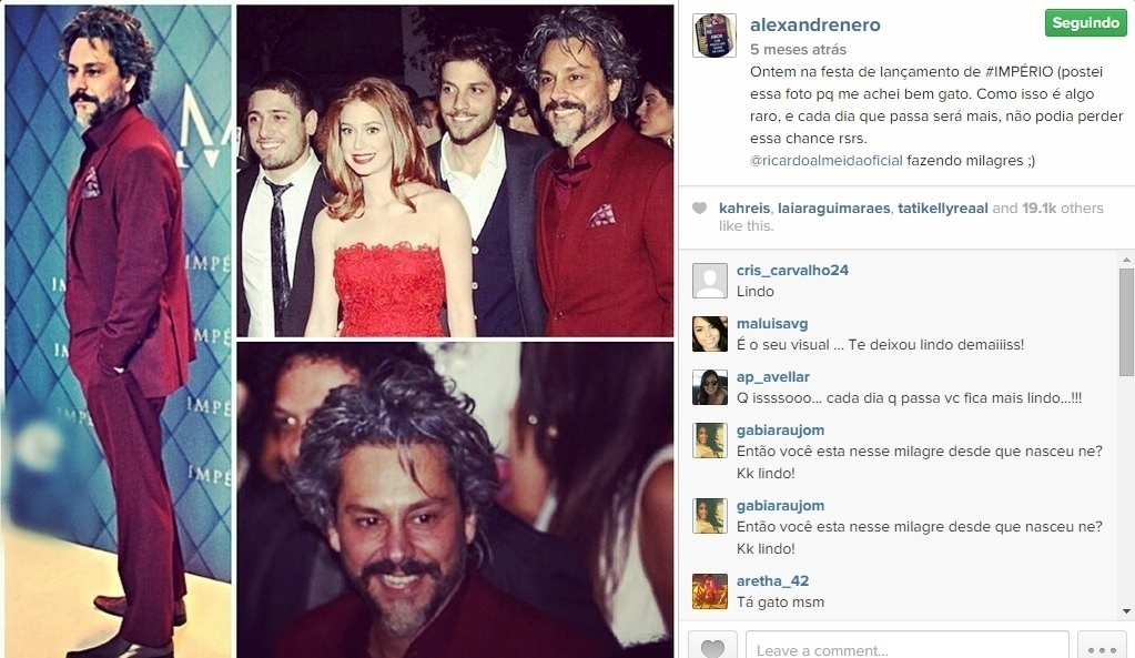 Alexandre Nero não se cansa de brincar com a imagem de galã em seu perfil no Instagram