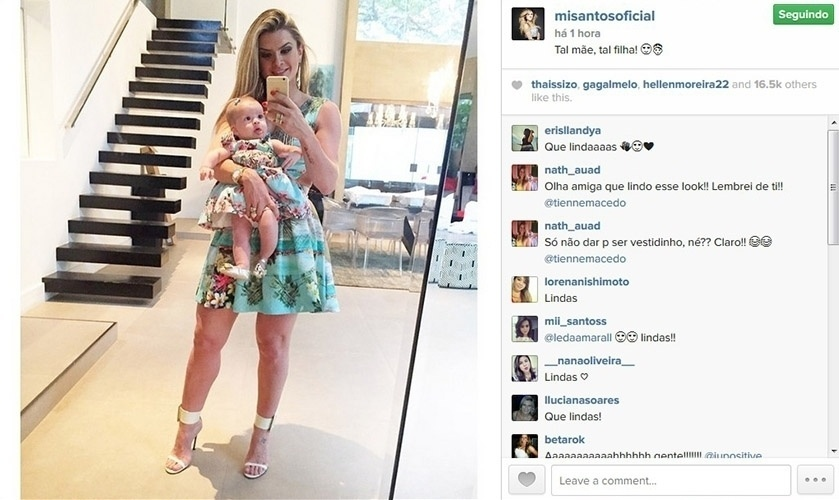 21.dez.2014 - Mirella Santos usa vestido parecido com o da filha, Valentina, e mostra looks no Instagram.