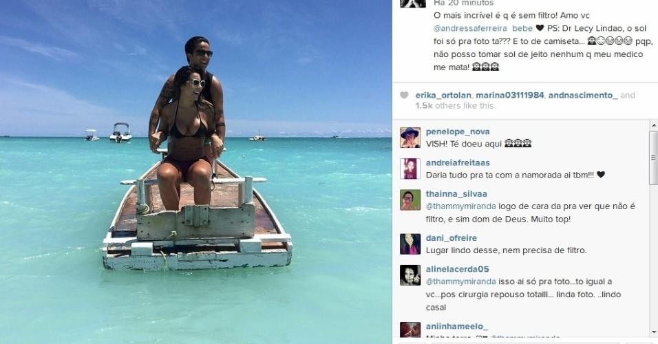 29.dez.2014- Thammy Miranda curte dia de sol na praia com a namorada Andressa Ferreira