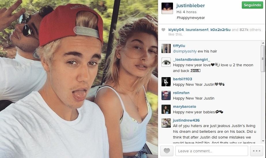 31.dez.2014- Com os cabelos loiros, Justin Bieber deseja Feliz Ano Novo para seus fãs em foto no Instagram