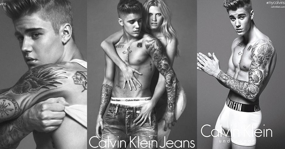 06.jan.2015 - Justin Bieber aparece de cueca como novo garoto-propaganda da Calvin Klein