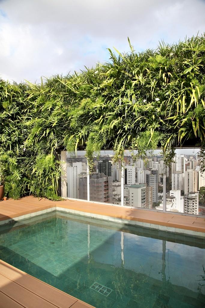 Esta proposta do paisagista Marcelo Bellotto atende a um apartamento de cobertura com uma piscina de apenas 3 m x 5 m, de onde é possível observar a bela vista da cidade, obtida através de panos de vidro emoldurados pelo jardim vertical que contornam toda a área. O revestimento é de pedra vulcânica Batu Hijau e o piso é composto por madeira cumaru