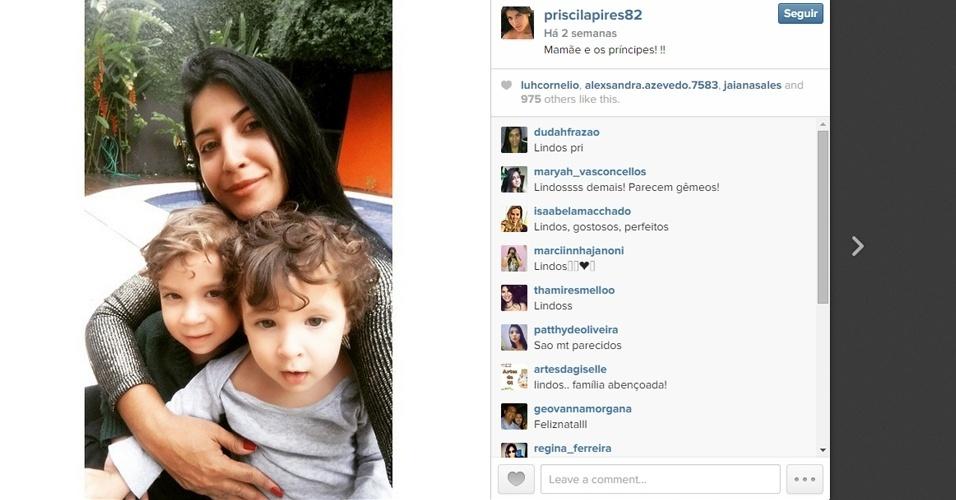 Priscila Pires e os filhos Gabriel e Pietro