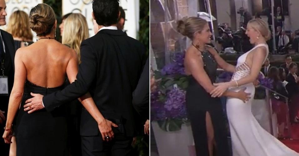 11.jan.2015 - Jennifer Aniston se empolgou na mão boba no tapete vermelho do Globo de Ouro 2015. A atriz não só foi flagrada