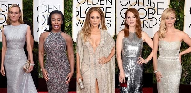 Os vestidos com brilho em prateado marcaram presença em peso durante a edição de 2015 do Globo de Ouro