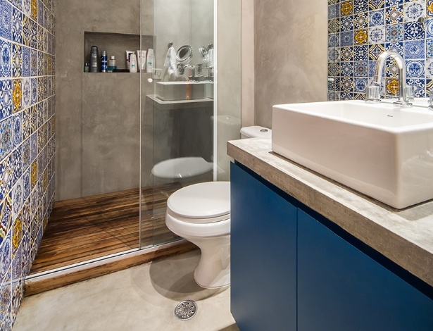 decoracao de banheiro na cor azul – Doitricom -> Decoracao De Banheiro Com Cimento Queimado