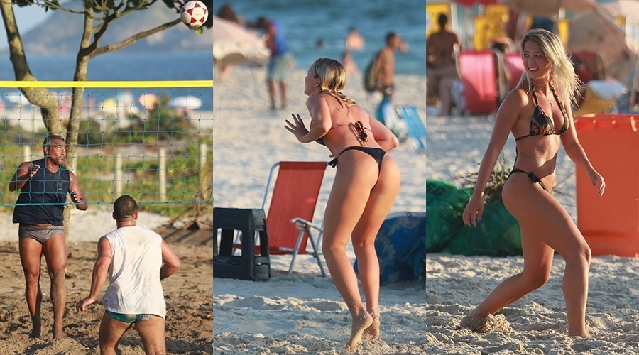 19.jan.2014- Romário, 48 anos, joga futevôlei na praia da Barra da Tijuca, zona oeste do Rio, com a namorada, a cantora americana Dixie Pratt, de 19 anos