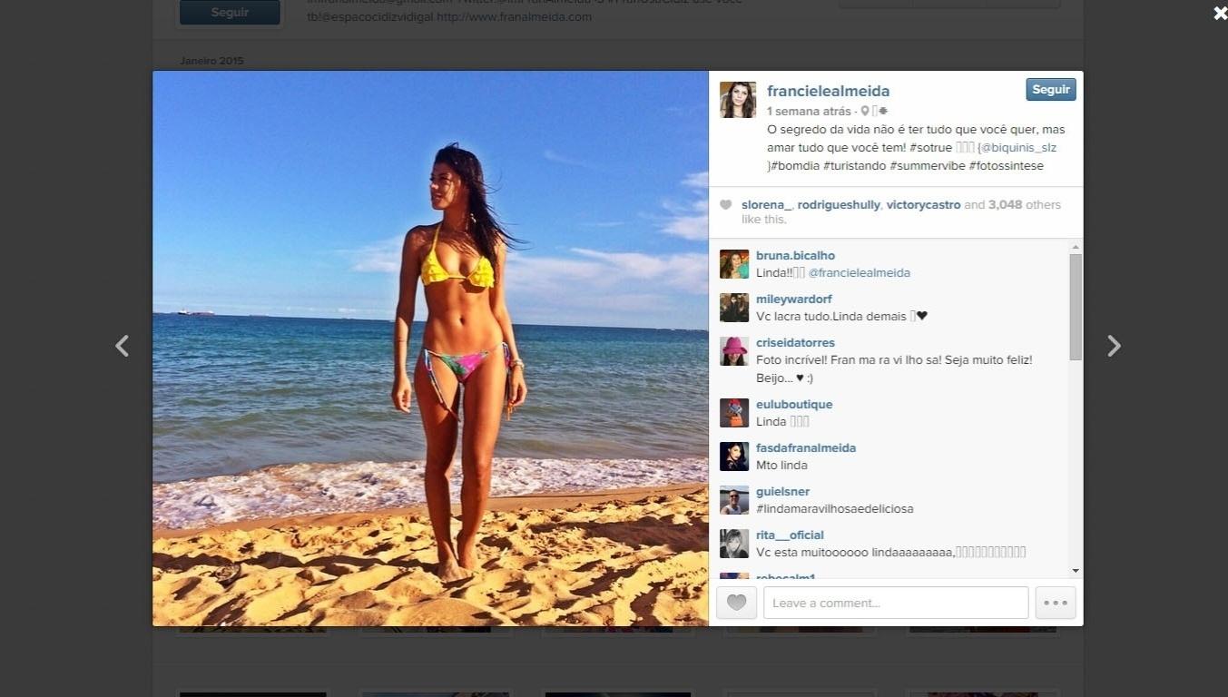 Franciele Almeida curte praia