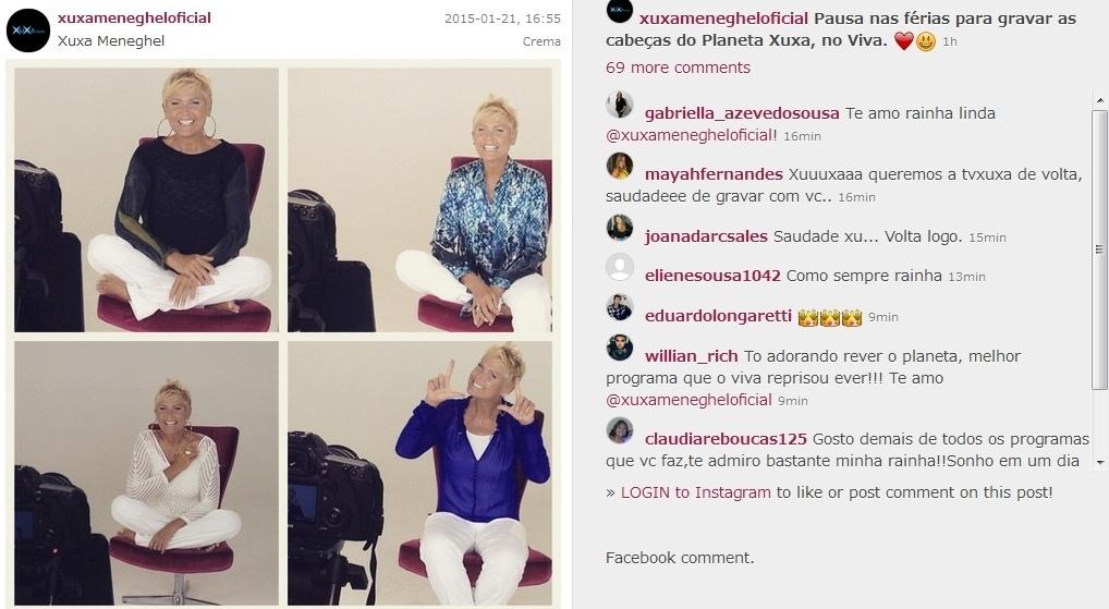 21.jan.2015- Com um pé na Record, Xuxa grava chamadas para o canal Viva: