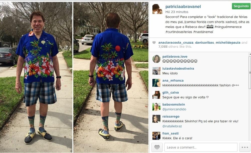 22.jan.2015- Patrícia Abravanel se diverte com look do pai durante férias nos Estados Unidos: