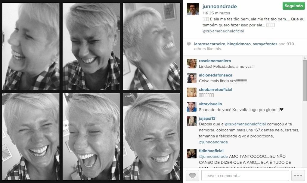 28.jan.2015 - Apaixonado, Junno Andrade publicou uma série de fotos de Xuxa toda sorridente, na noite desta quarta-feira. O ator ainda aproveitou para se declarar usando a música