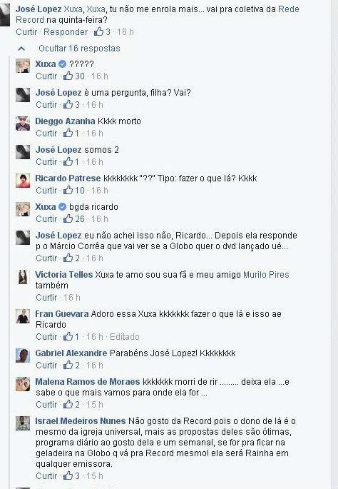 03.jan.2015 - Xuxa apoiou o comentário de um seguidor que perguntou: ?Fazer o que lá??