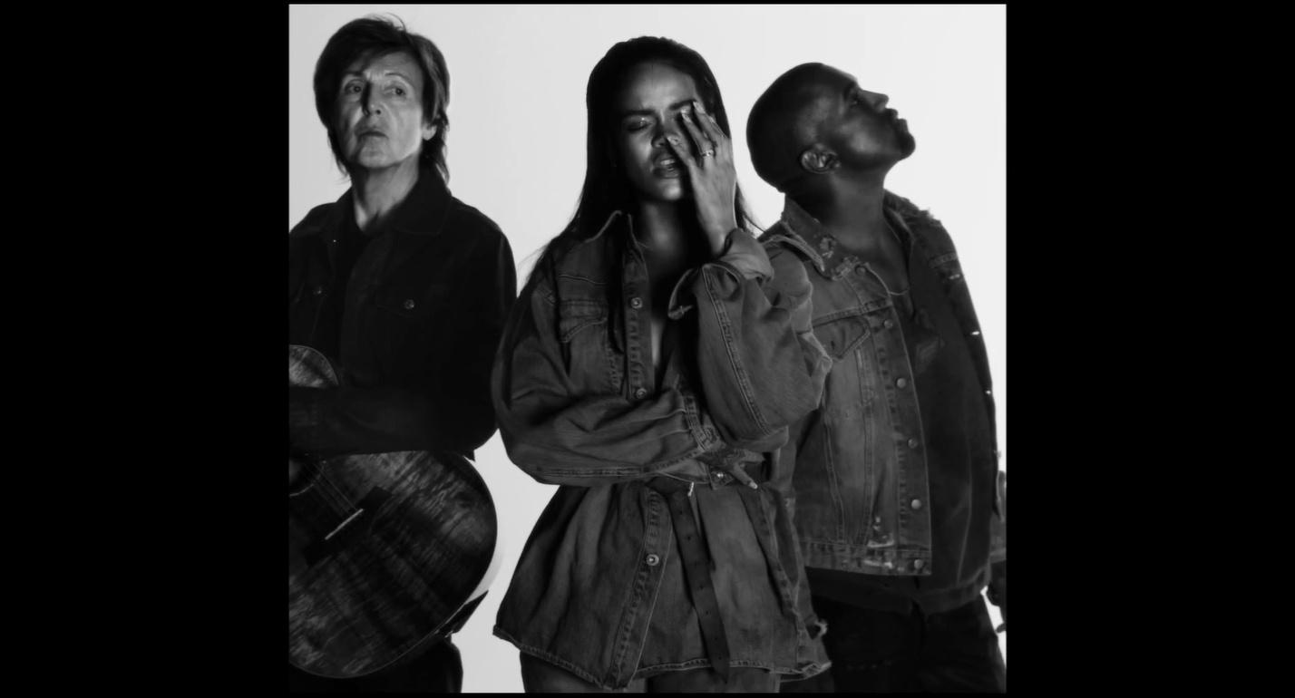 3.fev.2015 - Rihanna, Kayne West e Paul McCartney lançam clipe de